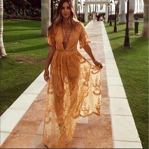 BOHO GYPSY MAXI DRESS w SHORT ROMPER UNDERNEATH 💛